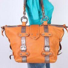 GUSTTO Large Orange Pewter Leather Shoulder Hobo Tote Satchel Purse Bag