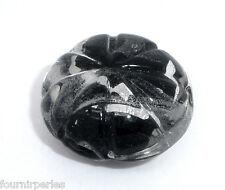 10 Perles lampwork verre Ronde transparent Noir 18mm