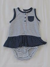NEW  with tags Carter's girls striped,blue romper size 6 months