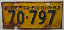 Alberta 1952 License Plate # 70-797
