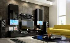 Wall unit furniture living room Tv stand cabinet Led black matt black high gloss