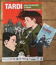 """Tardi: Affiche """"Tardi pose ses planches à Falaise"""" + dépliant"""