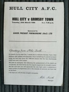 79/0 Hull City vs Grimsby Town (Div 3 Re-arranged Fixture)