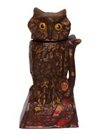 MONEY BANK ANTIQUE /VINTAGE STYLE CAST IRON MECHANICAL Brown OWL, Turns head BOX