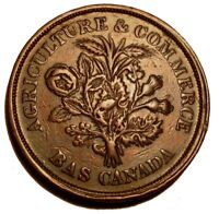 OLD Canadian Coins 1838  Bouquet Sous Canada Montreal Token Breton 715