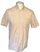Lacoste Men's Casual Shirt Orange Check Size 40 Large 100% Cotton S/S
