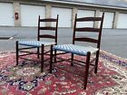 A Very Fine Pair Of Shaker Ladderback Side Chairs, #4, Mt. Lebanon, NY 1900's