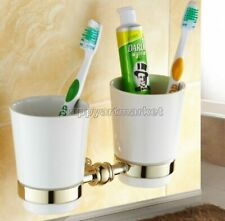 Gold Color Brass Wall Mounted Bathroom Toothbrush Holder Double Ceramics Cups