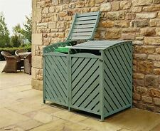 More details for outdoor wooden double wheelie rubbish bin store cover recycling storage unit