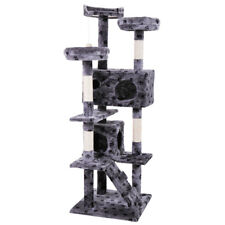 """New listing 60"""" Gray with paws Pet Cat Tree Play House Tower Condo Bed Scratch Post Toy"""