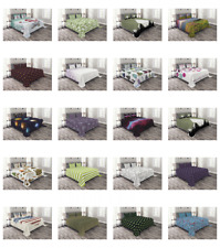 Ambesonne Bedspread with Pillow Shams Bed Coverlet Set Quilted Decorative
