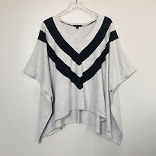 Tommy Hilfiger Womens Cape Pullover Poncho Chevron Stripe Gray Blue Med/Lg