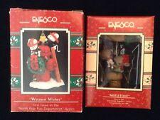 NORTH POLE FIRE DEPARTMENT & MISTLE-TOAST Enesco Mice Xmas Ornaments #1 Vtg 1990