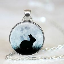 Rabbit Moon CABOCHON Glass Silver Necklace Men Woman Jewelry