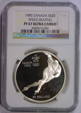 1985 Silver $20 Speed Skating CANADA Olympic Proof Coin NGC PF67 PR 67 UCAM