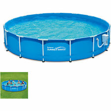 Swiming Pool Above Ground Metal Frame Swimming 15' Water Filter Pump Outdoor