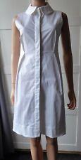 JIL SANDER WHITE BUTTON DOWN COTTON STRETCH SLEEVELESS SHIRT DRESS UK SIZE 4 / 6