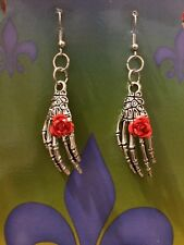 SKELETON HAND WITH RED ROSE RING EARRINGS DAY OF THE DEAD