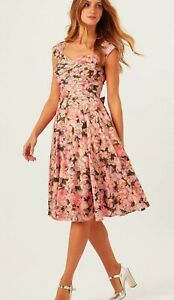 PHASE EIGHT ROSALIA PEACH GREEN PINK FLORAL 50'S FIT N FLARE DRESS 8 £140 TWICE