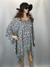Short Kaftan top | plus size | black and white leopard animal print | Holley Day