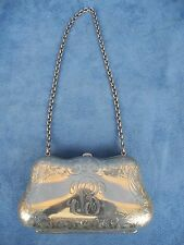 Antique Sterling Silver Novelty Engraved Purse