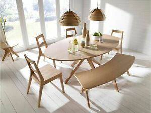 LUXURY MALMO DINING TABLE SET CHAIRS BENCH OAK VANEER & SOLID WOOD CONTEMPORARY