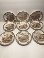 9 JOHNSON BROS. ''OLD BRITIAN CASTLES'' BROWN SAUCERS ENGLAND   5 3/4''