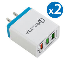 2x 30W 3-Port USB Wall Charger Dual Quick Charge 3.0 Ports For iPhone Samsung LG