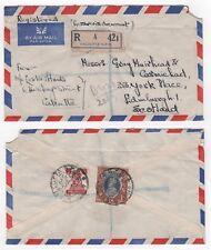 1950 INDIA KGVI Registered Air Mail Cover CALCUTTA to EDINBURGH Scotland