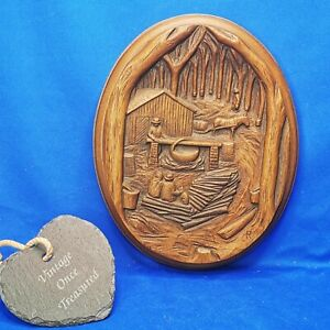 Karl Rothammer MAPLE SYRUP TIME * Vintage Canadian Wood Art Wall Plaque * VGC