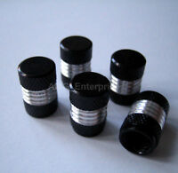 Black/Silver Alloy Dust Valve Caps for VW Touareg Touran Tiguan Transporter TDi