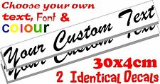 2 Custom text personalised message lettering vinyl decal stickers graphic 30x4cm