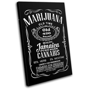 Cannabis Weed Whisky Parody Typography SINGLE CANVAS WALL ART Picture Print
