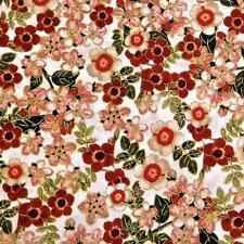 Asian Floral, Metallic Gold, Peach, Red & Ivory on White, Benartex Cotton