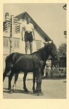 Vintage real photo postcard acrobat horses trainer