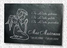Gedenkplatte Grabstein Gedenktafel mit Wunschtext in Schiefer graviert Motiv E1