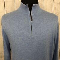 Brooks Brothers Men's XL Light Blue Supima Cotton 1/4 Zip Pullover Sweater