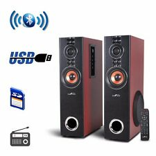 NEW Befree Sound 2.1 Channel Powered Bluetooth Dual Wood Tower BFS-T110W-BR-BNDL