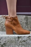 H By Hudson Tan Beige Minka Leather Boots Tie Ankle Strap Shoes  5 38 New