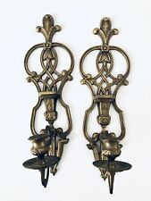 "2 Ornate Art Deco Antique Solid Brass Hanging Candle Holder Fleur De Lis 16"""
