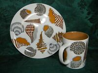 Fitz & Floyd Variations Sea Shells Snack Plate and Cup Set EUC VTG