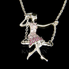 New Girl on Swing made with Swarovski Crystal Gymnastic Gymnast Acrobat Necklace