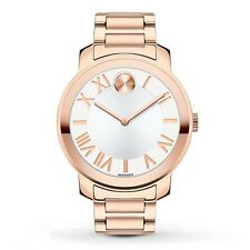 Movado Bold Rose Tone Link Bracelet Roman Numerals Watch 39mm 3600200