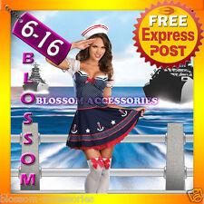 F93 Sailor Girl Uniform Ladies Rockabilly Pin Up Fancy Dress Party Costume & Hat