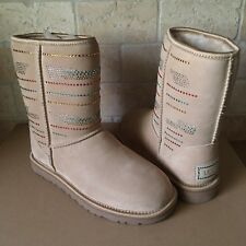 UGG Classic Short Serape Crystal Bling Swarovski Sand Suede Boots Size 7 Womens