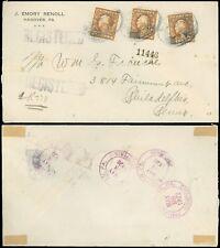 1922 Hanover PA Dbl Oval CDS, Reg'd Cover, J EMORY RENOLL S&F PERFINS, #503 x 3!