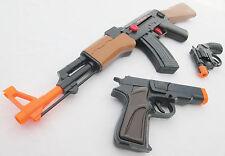 3x Toy Guns Friction AK-47 Toy Rifle Black 9MM Pistol & Revolver Cap Gun Set