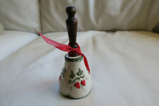 Strawberry Season Lovely Hand Made Porcelain Bell Wood Handle Signed Kw 1981