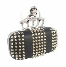 Fully studded knuckle dusters box clutch with snake skull details_black