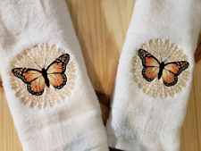 MONARCH BUTTERFLY MEDALLION HAND TOWEL SET CUSTOM EMBROIDERED